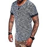 Kanpola Sport Shirt Herren Sportlich Vintage Basic Crew Neck T-Shirt Top Bluse