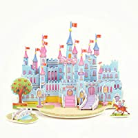 carsge Puzzle 3D DIY Jigsaw Puzzle Giocattolo di Csotruzione Cartone Paper Board Construction Toy Regalo per Bambini (castello blu)