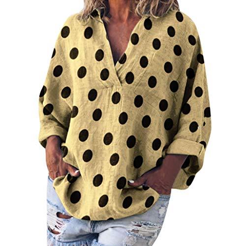 TOPSELD T Shirt Damen, Women Casual Punkt Druck Lange Hülse V-Ansatz Loser Hemd Taschen-Bluse Tops