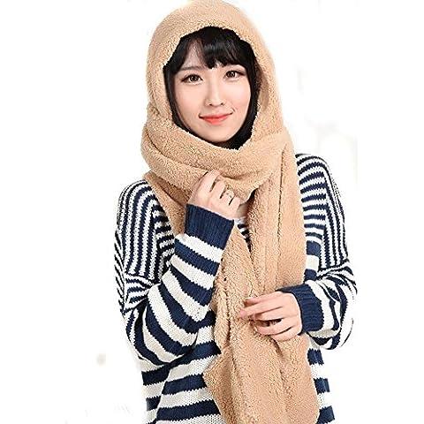 TININNA Inverno super morbido cotone Lungo Cappello Sciarpa con paraorecchie dell'involucro dello scialle earflap Cappello Cap Set per le donne ragazze Khaki