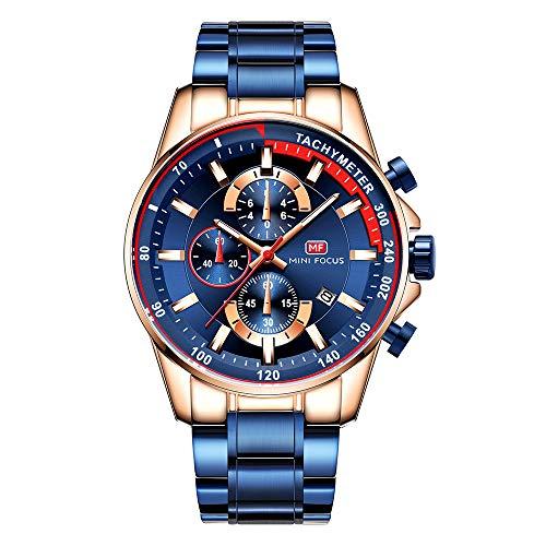 Herren Uhren Militär Wasserdicht Edelstahl Mesh Armband Mode Chronographen Mann Sport Analog Datum Kalender Quartz Armbanduhr(Lederarmband/Kautschukband) (Blau 3)