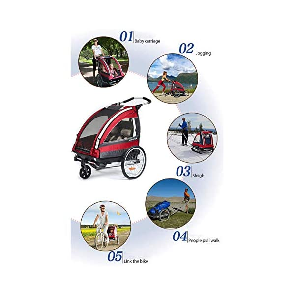 CHEERALL Children Bicycle Trailer Collapsible 2-Seater Multifunctional Jogger Stroller with 360° Rotatable Wheel Childs Bike Trailer Transport Buggy Carrier for 2 Kids CHEERALL FOR TWO CHILDREN: The Bicycle Trailer offers a safe and comfortable seat for one to two children from the age of 12 months. The large transparent side windows allow the children to keep an eye on their surroundings and get to know each other while driving. ADJUSTABLE BACKREST & ADJUSTABLE PUSH HANDLE:The backrest can adjust to fit baby's sleep posture to keep comfortable sleeping. Ergonomically designed 6-section adjustment handle for different people's needs. SAFETY WHEELS & 5-POINT SAFETY BELTS:Front wheel 360° rotation for easy to control direction. Sensitive braking system to keep your child safe. The 5-point safety belt is equipped with each seat to ensure security while keeping your baby fit to the safety belt to feel comfortable. 7