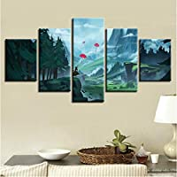 quickdraw Art Canvas Paintings Modular 5 Pieces Umbrella Forest Mountain Landscape Pictures Printing Decoration Living Room Wall HD Poster Children Room