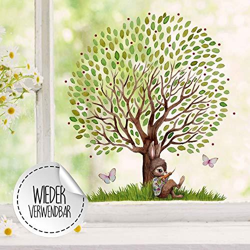 ilka parey wandtattoo-welt Fensterbild Hase mit großen Baum & Schmetterlinge -WIEDERVERWENDBAR- Fensterdeko Fensterbilder Frühlingsdeko Ostern Osterdeko bf26