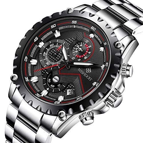 WISHDOIT Herren Freizeit Wasserdicht Sport Chronograph Analog Quarz Uhr mit Mode Silber Edelstahl Armband 9821A (Wasserdichte Sportliche Uhr)