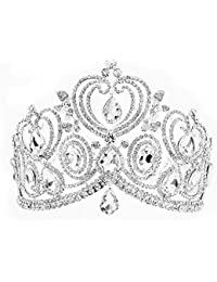 """Santfe 4.1"""" Altura Tiara de Mujer Corona Novia de Cabello Tocado de Novia Diamantes de Imitación Decoración para Boda Color plata"""