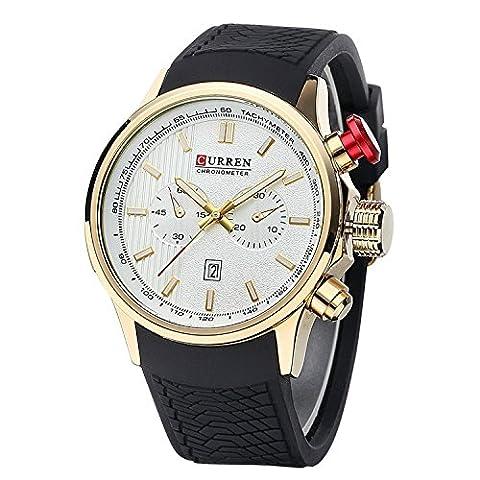 wishar Curren étanche en silicone bande hommes de montres, montres à quartz Montre sport Fashion