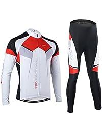 Lixada Abbigliamento Ciclismo Set da Uomo Primavera Autunno Ciclismo Sportivo Suit Manica Lunga Jersey + Pantaloni Traspirante Asciugatura Rapida