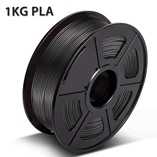 3D Warhorse PLA Nero 1,75 mm Filamento per Stampante 3D 1 KG, Bonus con Filamento per Pulizia Ugelli