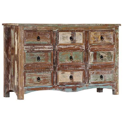 Tidyard cassettiera camera letto vintage 130x40x80 cm in legno massello di recupero,con 9 cassetti