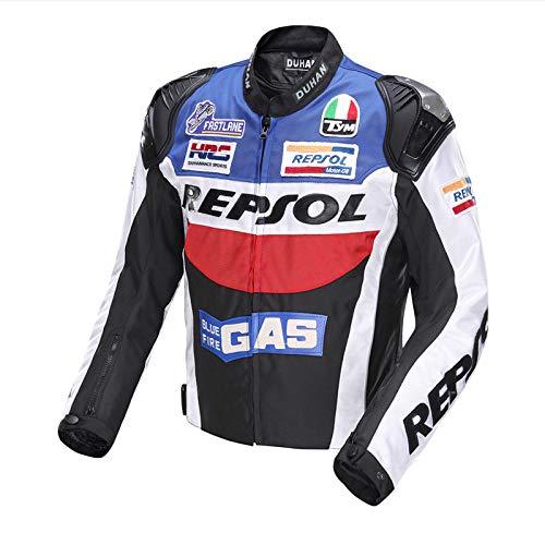 LLC-CLAYMORE Textil Motorradreitjacken, Moto-Jacken für Männer und Frauen, Windschutz-Schutzgetriebe-Zahnräder,Blue,XXL (Vintage Motorrad-zahnrad)