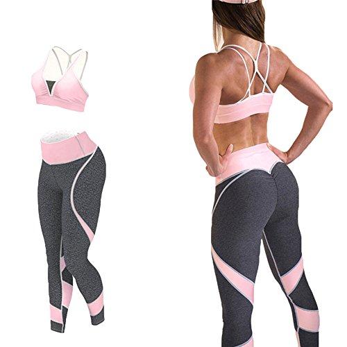 Damen Sportanzug 2 Teilig Trainingsanzüge Sportswear Jogginganzug Yoga Anzug Bekleidungsssets Elastizität Sportswear Outfits Bh Weste + Leggins Fitness Set Rosa S Kootk (Sexy Frauen Anzüge)