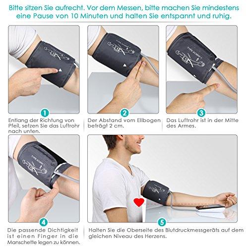 SIMBR Oberarm-Blutdruckmessgerät Vollautomatisch mit Hintergrundbeleuchtung 180 Speicherplätze für Zwei Benutzer Höher Genäuigkeit - 5
