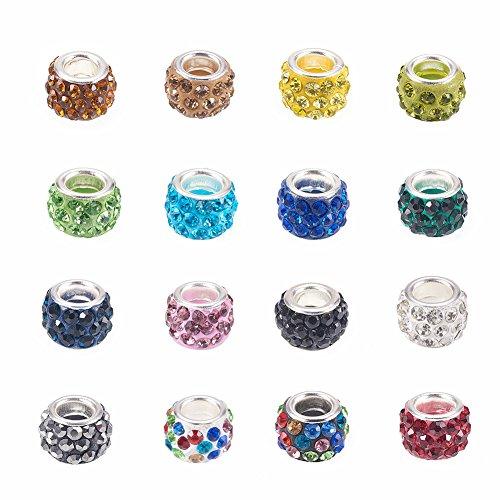 nbeads 100PCS Polymer Clay Strass European Beads mit großen Loch fit Charms Armband, 11~ 12mm im Durchmesser, 7~ 7,5mm dick, Loch: 5mm