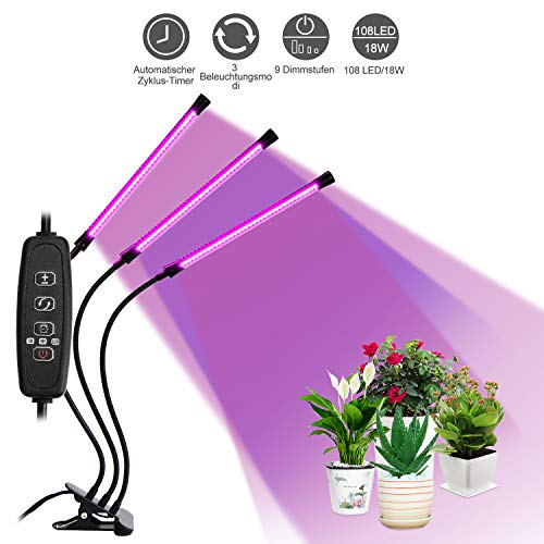 LED Pflanzenlampe Vollspektrum mit 3 Timer Funktion 3H/9H/12H, 9 Arten von Helligkeit, 27W 108LED Dreikopf Pflanzenlicht UV Wachstumslampe (3 Lampenköpfe)