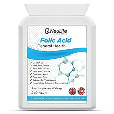 Folic Acid 400mcg - 240 Tablets - by Neulife Health and Fitness by Neulife Health and Fitness