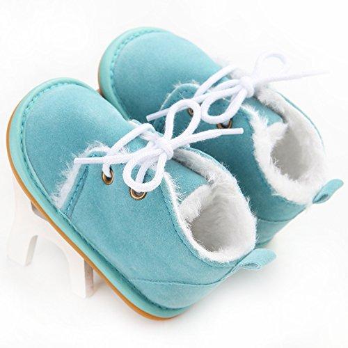 Oderola Schuhe für 3-12 Monate Baby,Gummi Soft-Sohlen Winterstiefel Stiefel Hellblaue