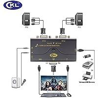 VGA KVM Switch 2 Puertos con Kits de Cable y USB 2.0 HUB Soporte de Audio Micrófono 2048 * 1536 450MHz, 2 computadoras o computadora portátil Compartir PC Monitor Teclado Mouse Impresora Escáner Flash