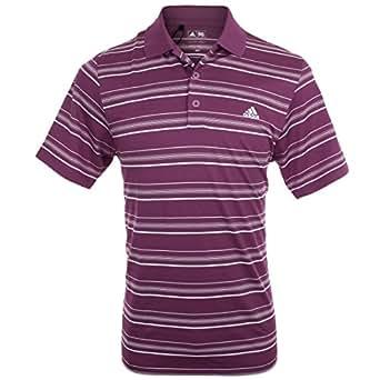 Adidas Golf Mens Climalite 2-Colour Stripe LC Polo - Amazon Red/Wht XXL