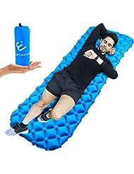Coussin d'air Matelas Gonflable Sleeping Pad Ultraléger pour Camping,Randonnée,Voyage, Plage,Tente,Sac de Couchage En Bleu