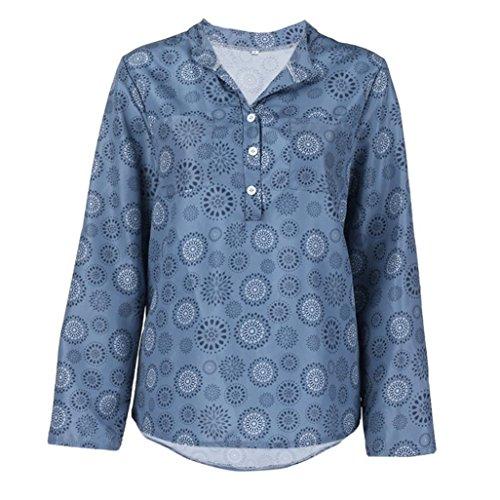 VEMOW Sommer Herbst Elegante Damen Frauen Plus Größe Print Langarm Polka Dot Taste Lässige Tägliche Strand Workout Bluse Pullover Tops Shirt(Blau, EU-44/CN-XL)