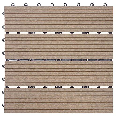 Mendler WPC Bodenfliese Rhone, Holzoptik Balkon/Terrasse, 11x je 30x30cm = 1qm ~ Basis, Teak linear