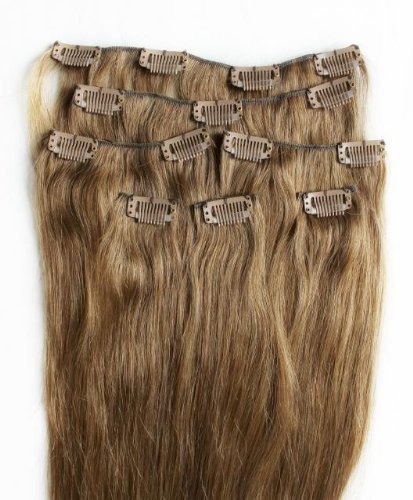 50,8 cm 7 extensions de cheveux remy 100% humains à clipser Brun Clair # 10