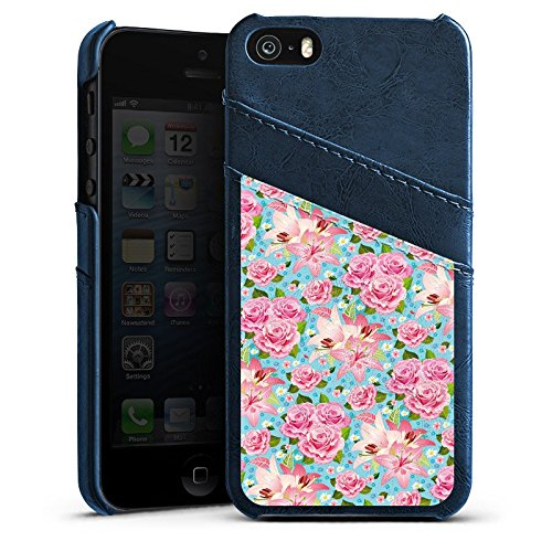 Apple iPhone 4 Housse Étui Silicone Coque Protection Roses Roses Roses Étui en cuir bleu marine