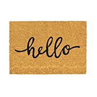Nicola Spring Non-Slip Coir Door Mat - 40 x 60cm - Hello - PVC Backed Welcome Mats Doormats