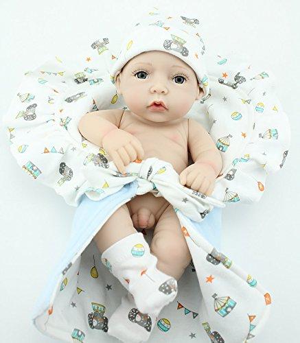 Nicery Neugeboren Baby Puppe Harter Silikon 11inch 28cm Wasserdicht Spielzeug Ein Kleines Quilt Junge Reborn Doll A3DE (Neugeborenen-baby-puppe)