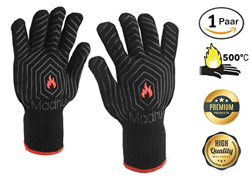 Grillhandschuhe Hitzebeständig Bis 500 °C - 1 Paar Extra Lange Ofenhandschuhe In Schwarz, Einheitsgröße