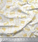 Soimoi Blanco terciopelo Tela Patatas fritas y hamburguesa comida estampada de tela por metro 58 Pulgadas de ancho