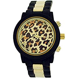 Softech Ladies Leopard Dial Brown Rubberised Metal Bracelet Strap Watch B396