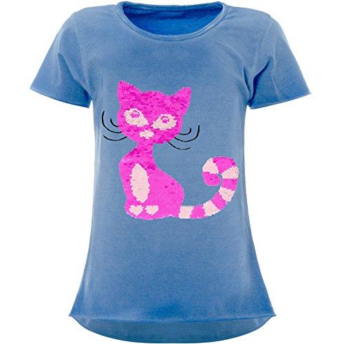 BEZLIT Mädchen Wendepailletten T-Shirt Katzen-Motiv Kurzarm 22492, Farbe:Blau, Größe:104
