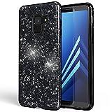 NALIA Hülle kompatibel mit Samsung Galaxy A8 (2018) Glitzer Handyhülle Ultra-Slim Silikon Case Back-Cover Schutzhülle, Glitter Handy-Tasche Bumper, Dünnes Bling Phone Etui, Farbe:Schwarz