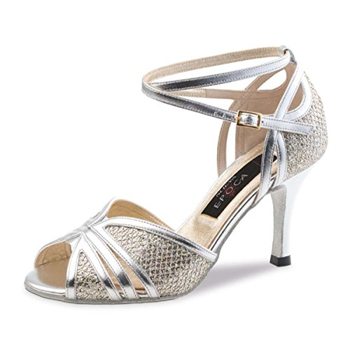 Nueva Epoca - Damen Tango/Salsa Tanzschuhe Pearl - Leder Silber - 7 cm [UK 4,5]