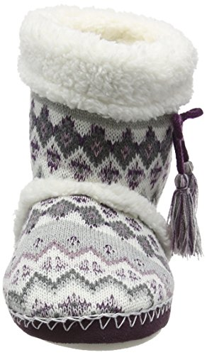 Totes Damen Ladies Fairisle Bootie Slipper Hausschuhe Multicolor (Grey/Berry)