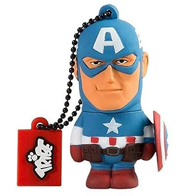 Tribe Disney Marvel Avengers Captain America Clé USB 8 Go Fantaisie Pendrive USB Flash Drive 2.0 Originale Stockage Memoire, Idee Cadeau Figurine 3D, Stockage USB en PVC avec Porte-Clés – Bleu