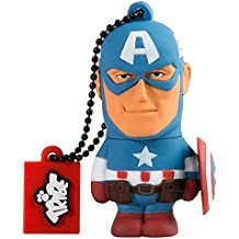Tribe Disney Marvel Avengers Captain America - Memoria USB 2.0 de 8 GB Pendrive Flash Drive de goma con llavero, color azul