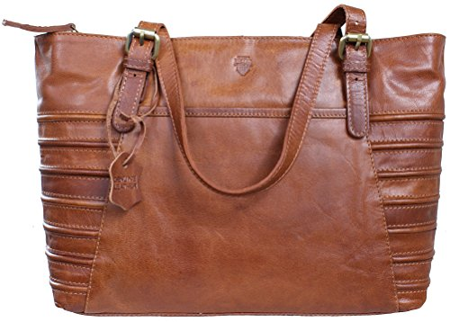 GIRA von RICANO, Damen Ledertasche / Handtasche / Umhängetasche aus Lamm Nappa Echtleder in Braun / Cognac