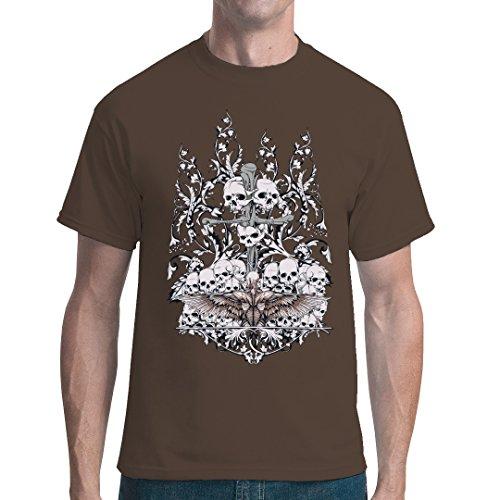 Gothic Fantasy unisex T-Shirt - Schädel am Kreuz by Im-Shirt - Bear Brown 5XL (Schädel-brown-t-shirt)