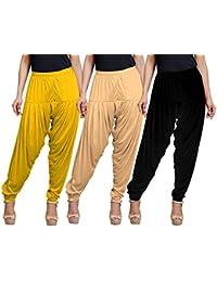 Eazy Trendz Women's Viscose Lycra Solid Patiala Pack Of 3-SKIN_BLACK_GYELLOW