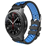 MoKo Armband für Samsung Gear S3 Frontier/Galaxy Watch 46mm / Classic Watch - Silikon Sportarmband Uhr Band Strap Erstatzband Uhrenarmband, Schwarz & Blau (Nicht für Gear S2 Classic)