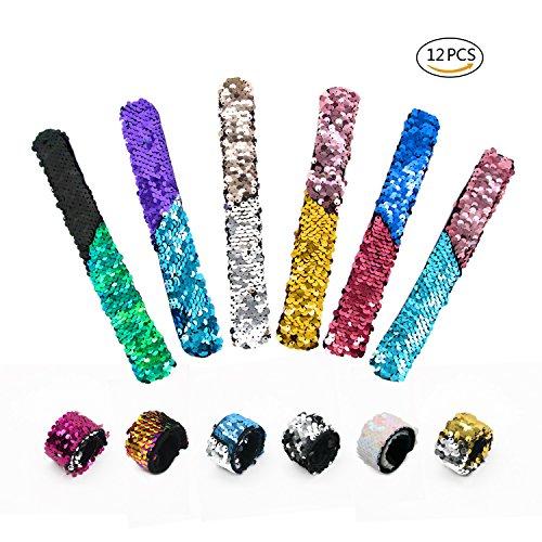goooods Pailletten Meerjungfrau Slap Armband 2 Farbe Reversible Glitter Charms Armband magische Handschlaufe, Party Supplies begünstigt für Frauen, Mädchen und Kinder (12 zufällige Farben)