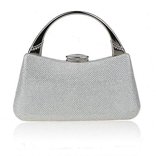 Nuovo mini strass vestito bag borsa di modo borsa banchetto serale sposa ( Colore : Silver ) Silver