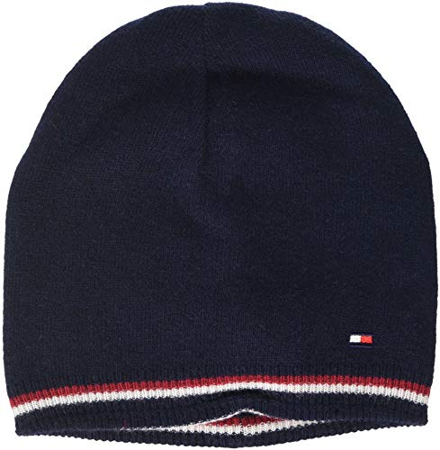 Tommy Hilfiger Herren Strickmütze Double Sided Knit Beanie, Blau Navy Red 901, One Size (Herstellergröße: OS)