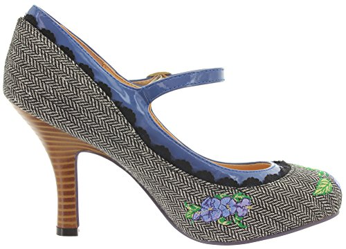 Dancing Days by Banned Mary Jane Pumps GIRL LOVES ME BND138 Grey Tweed