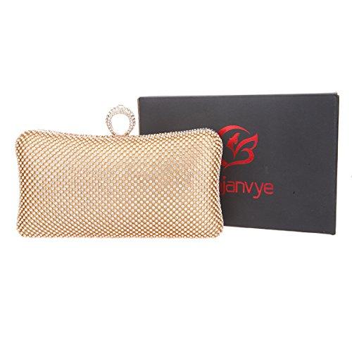 Bonjanvye Bling Ring Clutch Purse for Women Rhinestone Clutch Evening Bag Red Gold