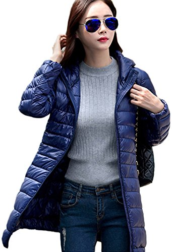Lovache Lang Daunenjacke Damen Ultra Leicht Winter Mantel Mit Kapuze Parka Jacke, XL, blau(Herstellergröße: 3XL) (Klettern Kapuzen-parka)