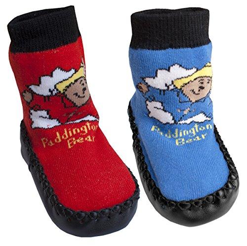 Baby PACK OF 2 Pairs Infant Paddington Bear Slipper Socks Slippers sizes from Newborn to 36 Months